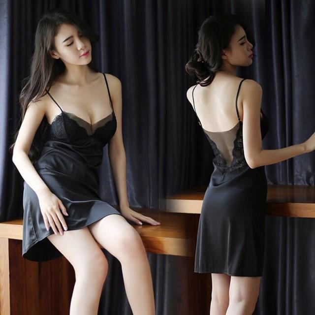 Đầm ngủ 2 dây lụa phối ren cao cấp không mút