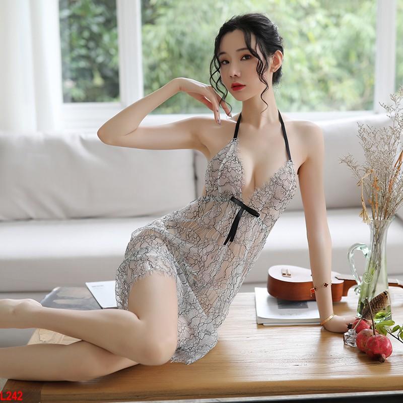Đầm ngủ xuyên thấu họa tiết quý tộc - Đầm ngủ mỏng manh