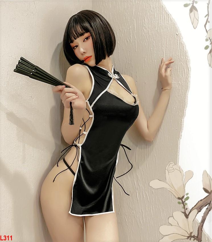 Set ngủ Cosplay Cô gái Trung Hoa - Cosplay sườn xám Form ngắn