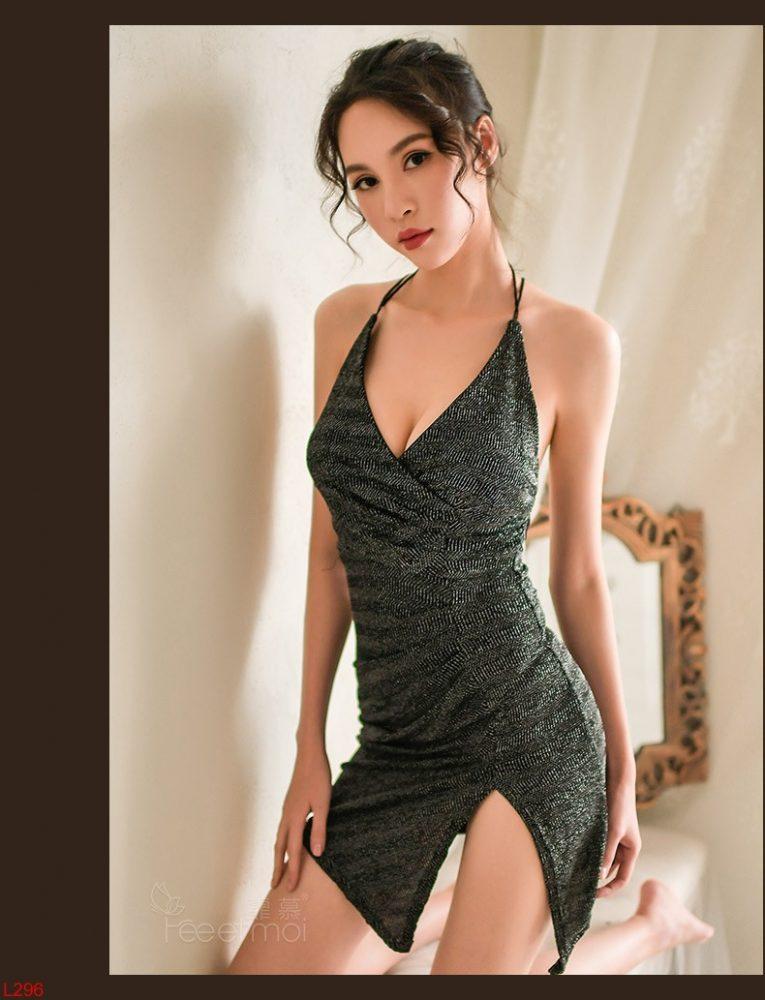 Đầm ngủ Kim sa Cao Cấp xẻ vạt siêu quý phái - Váy body 2 dây