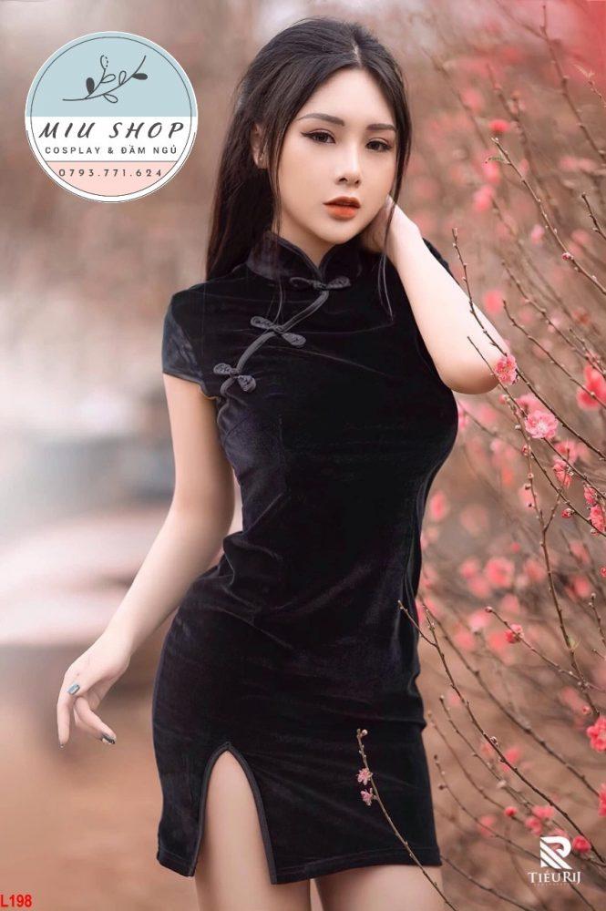 Đầm ngủ sườn xám Thượng Hải Nhung cao cấp