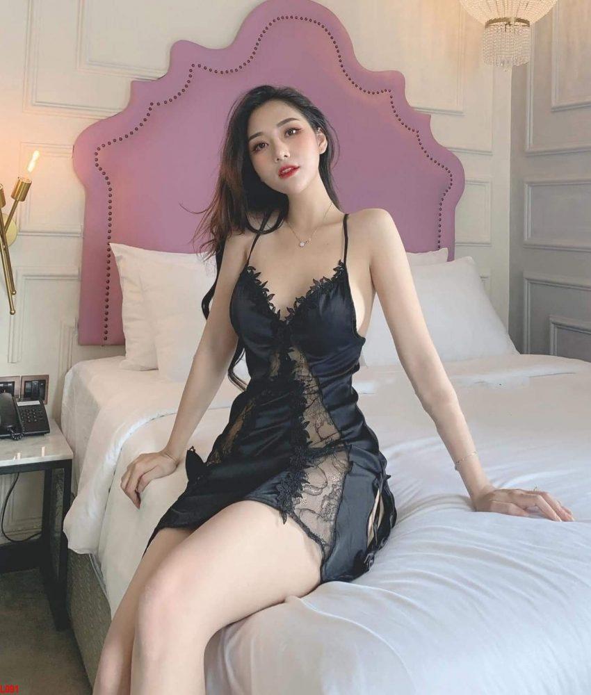 Đầm ngủ lụa nữ cao cấp phối ren