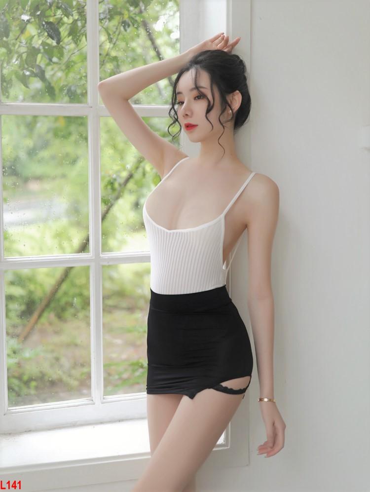 Combo Đồ ngủ Bodysuit sexy kèm minizip xinh - cosplay JAV cô thư ký xinh đẹp