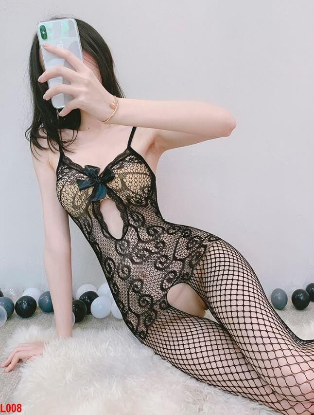 Đồ ngủ lưới khoét đáy siêu sexy