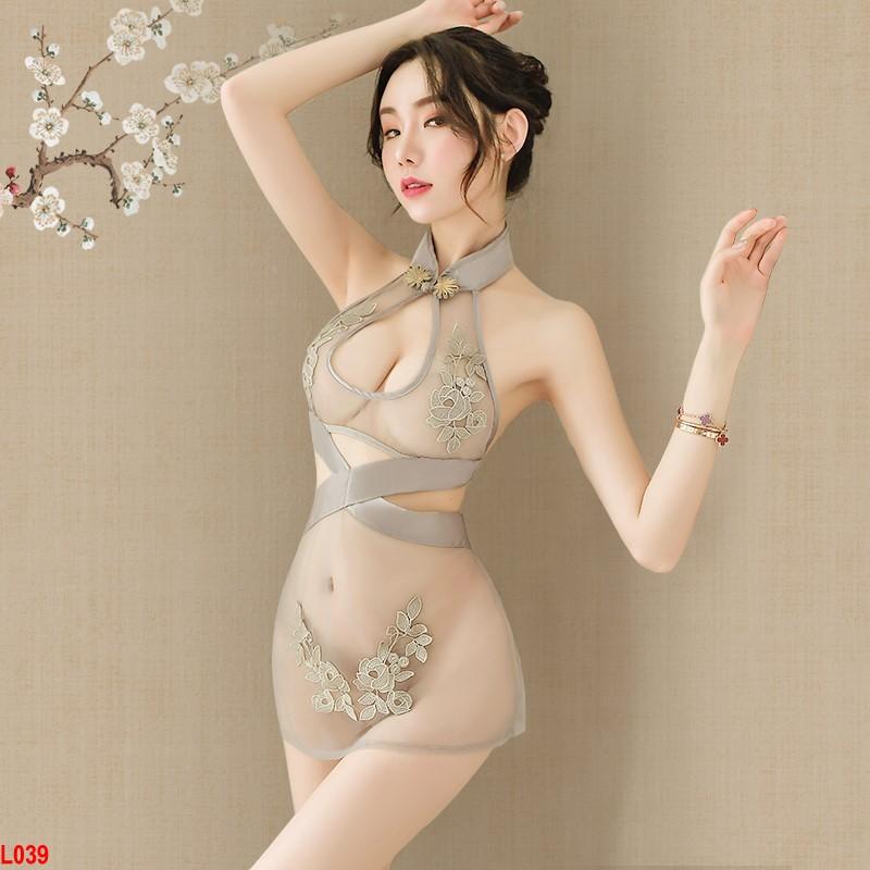 Set áo ngủ kèm chip Sườn Xám Thượng Hải xuyên thấu