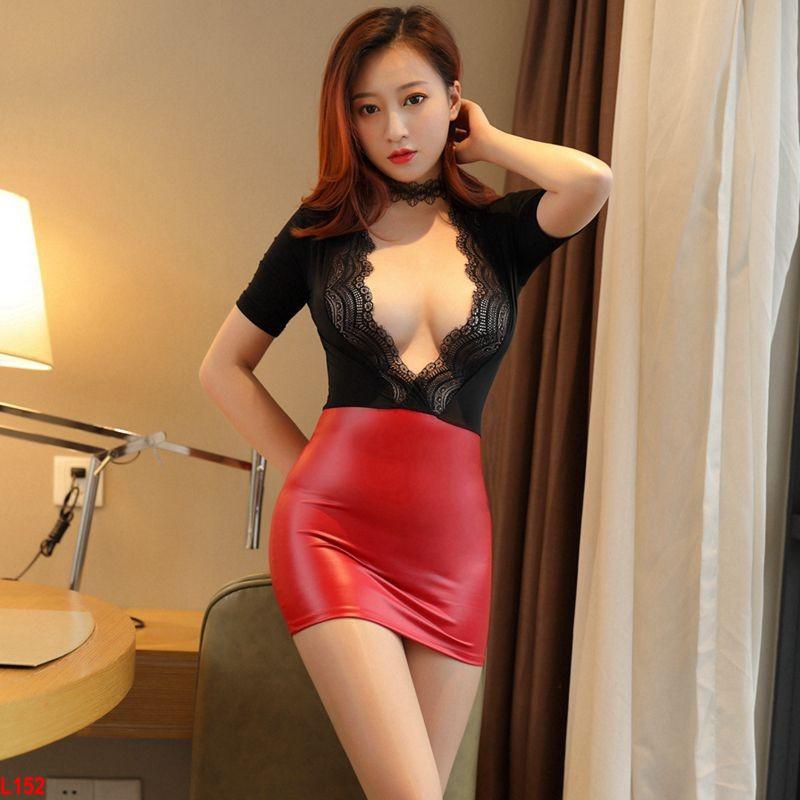 Đầm ngủ Cô Nhân viên phục vụ – L152 đen đỏ