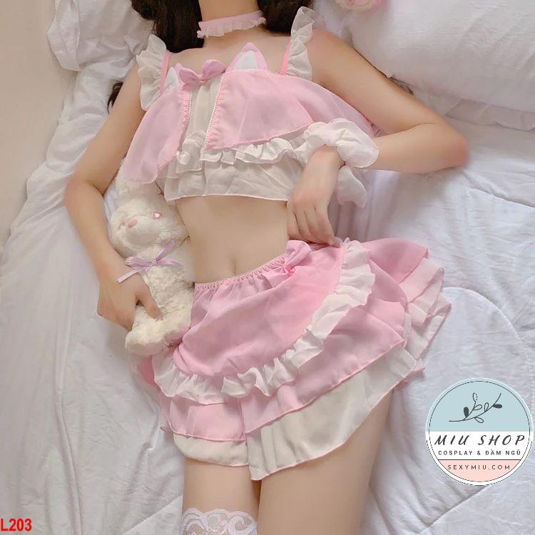 Đồ ngủ Cosplay Mèo siêu dễ thương – L203 hồng
