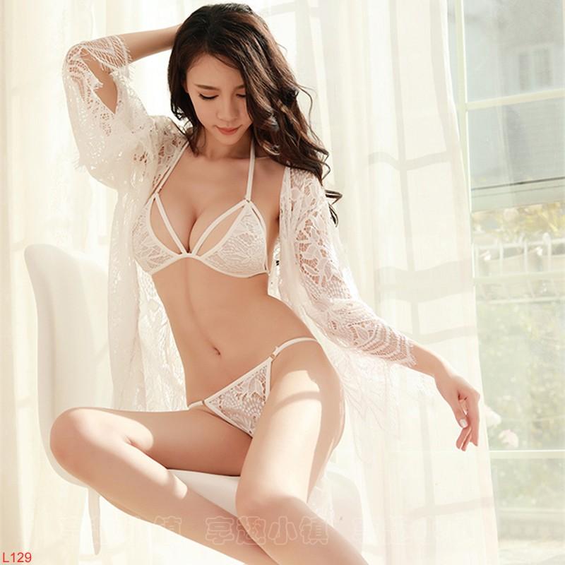 Full set đồ lót ngủ nữ nội y kèm choàng ren – L129 trắng
