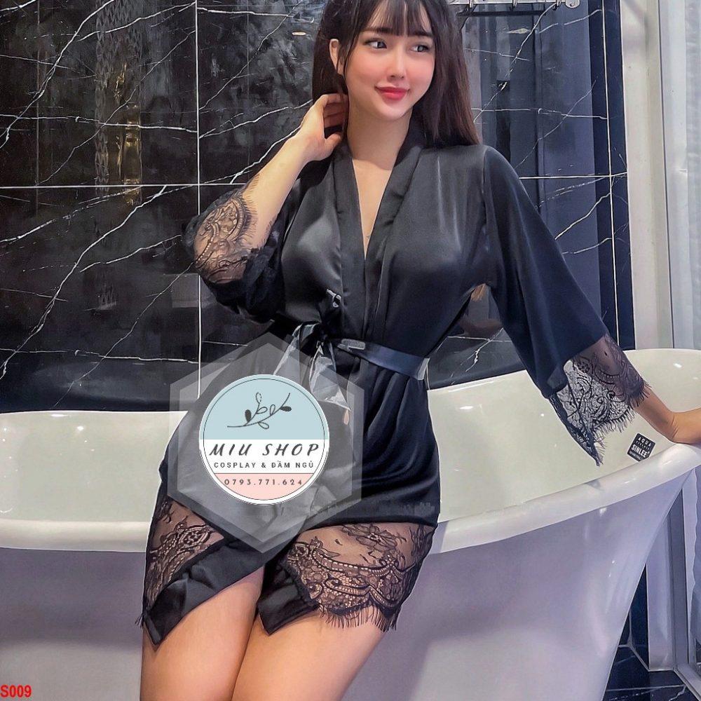 Áo choàng ngủ Lụa Satin Mix ren