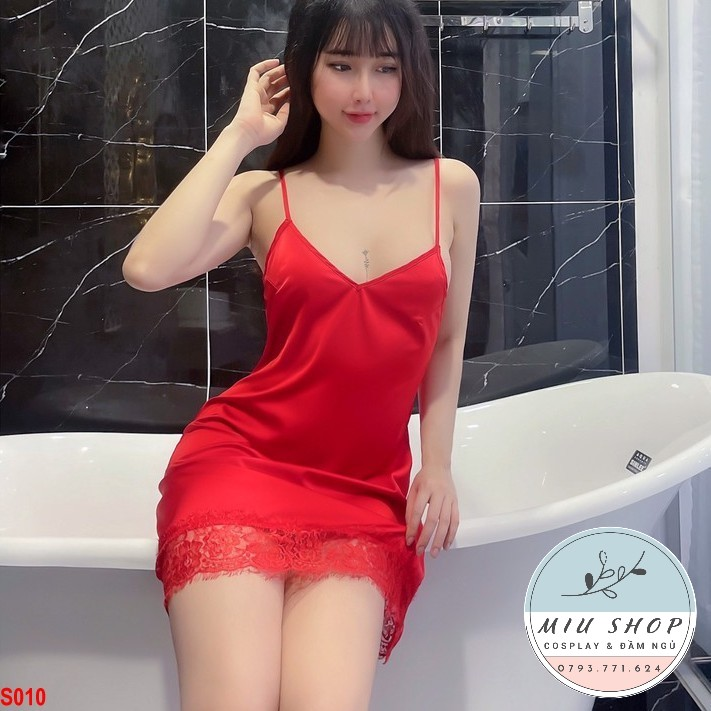 Đầm ngủ Lụa Latin Hàng Châu cao cấp mặc nhà – S010 đỏ