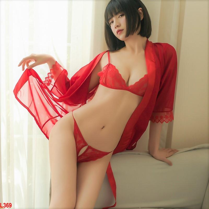 Set Áo choàng ngủ kèm nội y xuyên thấu gợi cảm – L369 đỏ